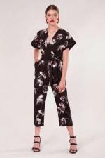 Black Floral Wrap Over Tie Front Jumpsuit - 1