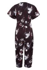 Black Floral Wrap Over Tie Front Jumpsuit - 6