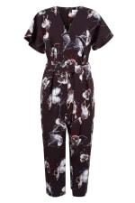 Black Floral Wrap Over Tie Front Jumpsuit - 5