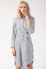 Navy & White Long Sleeve Shirt Tie Dress - 3