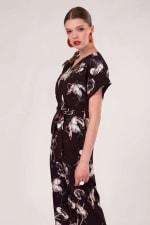 Black Floral Wrap Over Tie Front Jumpsuit - 4