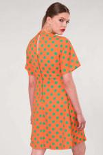 Orange Polka Dot V-Neck Collared Dress - 2