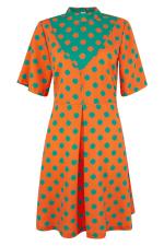 Orange Polka Dot V-Neck Collared Dress - 5