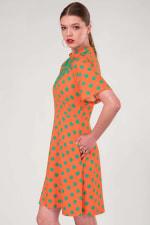 Orange Polka Dot V-Neck Collared Dress - 4