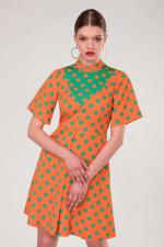 Orange Polka Dot V-Neck Collared Dress - 3