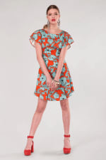 Orange Floral Frill Sleeve & Hem Dress - 3