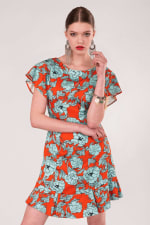 Orange Floral Frill Sleeve & Hem Dress - 4