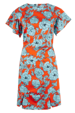 Orange Floral Frill Sleeve & Hem Dress - 5