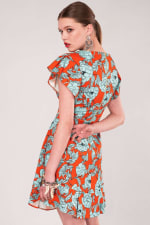 Orange Floral Frill Sleeve & Hem Dress - 2