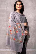 Karuna Embroidered Shawl - Silver / Autumn Tones - Front