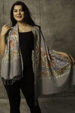 Karuna Embroidered Shawl - Silver / Autumn Tones - Back
