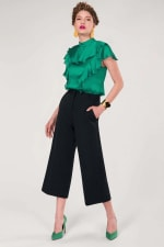 Green Frill Round Neck Blouse - 1