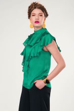 Green Frill Round Neck Blouse - 3