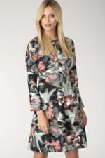 Multi Split Neck Fluted Sleeves Tunic Dress - 1