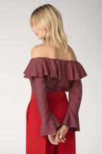 Black and Red Ruffle Neck Off-the Shoulder Blouse - 2