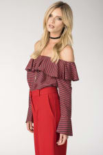 Black and Red Ruffle Neck Off-the Shoulder Blouse - 3