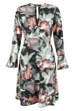 Multi Split Neck Fluted Sleeves Tunic Dress - 4