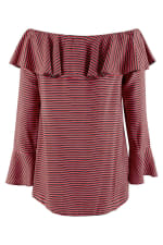 Black and Red Ruffle Neck Off-the Shoulder Blouse - 5