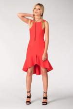 Red Frilled Skirt Panel Dress - 3