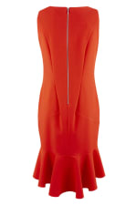 Red Frilled Skirt Panel Dress - 6