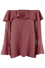 Black and Red Ruffle Neck Off-the Shoulder Blouse - 4