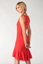 Red Frilled Skirt Panel Dress - 4