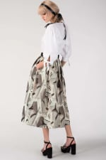 CLOSET GOLD Metallic Jacquard Pleated Midi Skirt - 2