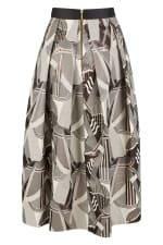 CLOSET GOLD Metallic Jacquard Pleated Midi Skirt - 3