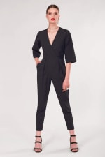 Black Polka Dot Wrap Slim Leg Jumpsuit - 1