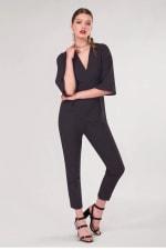 Black Polka Dot Wrap Slim Leg Jumpsuit - 3