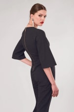 Black Polka Dot Wrap Slim Leg Jumpsuit - 2