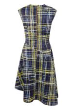 Navy Check Asymmetric Flared Dress - 6
