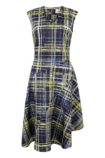 Navy Check Asymmetric Flared Dress - 5