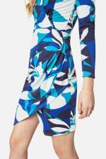 Closet Printed Long Sleeve Wrap Jersey Dress - 3