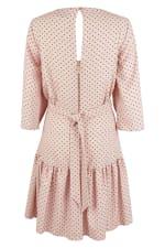 Pink Dotted Flared 3/4 Sleeve Frill Hem Short Dress - 4