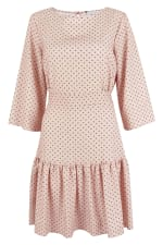 Pink Dotted Flared 3/4 Sleeve Frill Hem Short Dress - 3