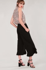 Black High Waisted Frill Trousers - 4