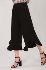Black High Waisted Frill Trousers - 3