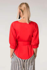 Red Puff Sleeve & Tie Blouse Puff Sleeve Top - 2