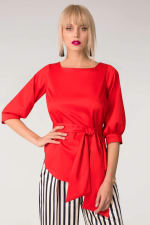 Red Puff Sleeve & Tie Blouse Puff Sleeve Top - 1