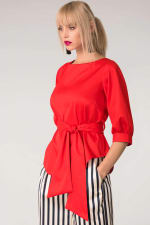 Red Puff Sleeve & Tie Blouse Puff Sleeve Top - 3