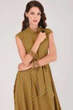 Mustard Handkerchief Point Hem Dress - 4