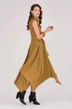 Mustard Handkerchief Point Hem Dress - 3
