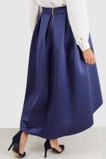 Navy Satin High-Low Skirt - 2