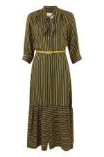 Mustard Stripy Midi Dress With Neck Tie - 4