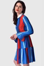 Multi Gathered Skirt and Collar Dress - 3