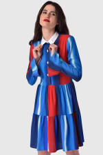 Multi Gathered Skirt and Collar Dress - 4