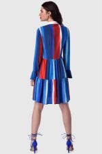 Multi Gathered Skirt and Collar Dress - 2