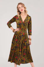 Olive Wrap Long Sleeve Dress - 1