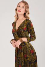 Olive Wrap Long Sleeve Dress - 3